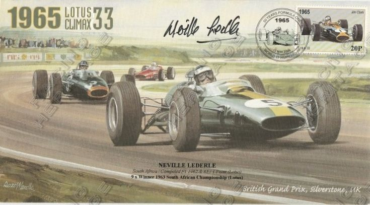 South African Neville Lederle autographed envelope 1965 Lotus Climax 33 Limited Edition No 10 of 210 Price $50
