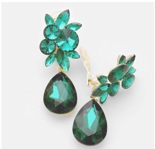 "3"" Green Emerald Gold Long Rhinestone Crystal Pageant Dangle Earrings Clip On #Unbranded #Chandelier"