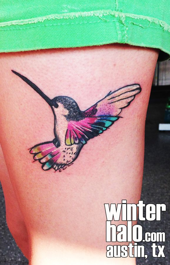 Watercolor Style Hummingbird Tattoo by Christopher Hedlund water color bird birds hummingbirds girly   tattoo tattoos best artist art illustration illustrator realistic realism drawing painting colorful bright  austin tx texas georgetown pflugerville round rock taylor san antonio san marcos
