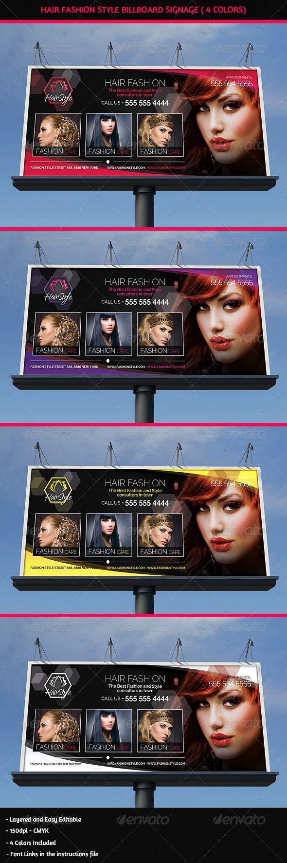 Hair Salon Fashion Style Billboard Signage — Photoshop PSD #relax #style • A...