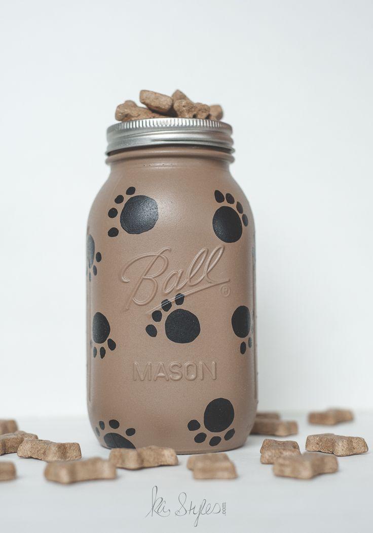 Mason Jar Craft Ideas  A fun DIY dog treat jar I made for my brat Chaweenie.