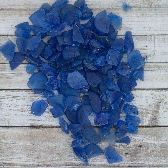 Beach Decor Sea Glass - 2 LBS - Blue Hand Tumbled Beach Glass - Nautical Decor