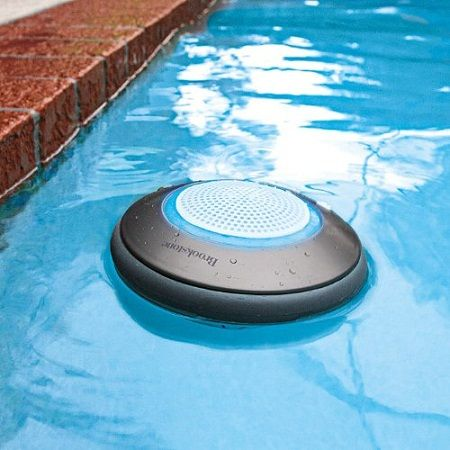 The Brookstone Waterproof Speaker can provide you with booming beats in and out of the water. It's submersible up to 3 feet. It is Bluetooth enabled, so it can be paired up with your smartphone or tablet. this is well needed