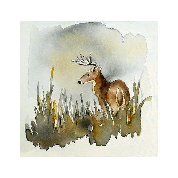 A 10 x 10 in. watercolor print of nature in the woods  by LaBerge, $23.00