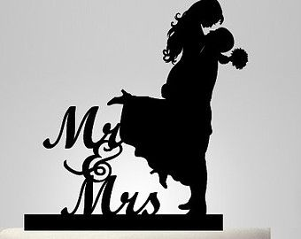 Items similar to kids silhouette, wedding cake topper Silhouette ...