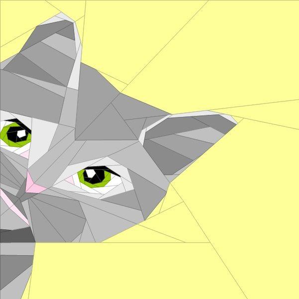 """10""""(30cm) cute cat face paper piecing patterns quiltartdesigns.blogspot.com"""