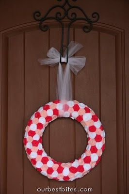 valentine rosette wreath - DONE.  One of my favorites