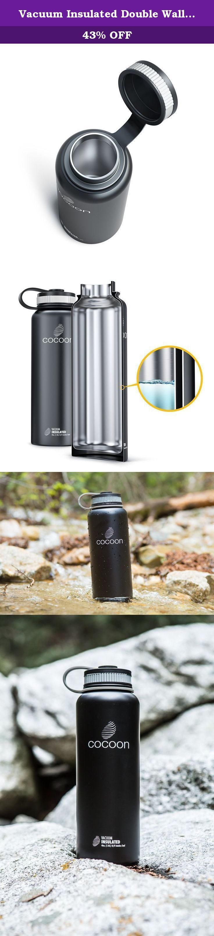 Vacuum Insulated Double Wall 40 oz Stainless Steel Water Bottle by Cocoon. Like a Cocoon, this stainless steel water bottle will keep your hot drinks piping hot and your cold drinks ice cold for hours and hours... and hours. Say goodbye to warm drinks that taste like plastic and cold coffee, hot cocoa or soup that is anything but hot. This is made possible using cutting edge manufacturing processes and superior quality control to ensure every Cocoon will last for years. Don't ever worry...