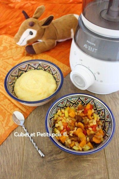 Recette pour bébé du monde avec un tajine de légumes et poulet et sa semoule à la fleur d'oranger. Vous pourrez ainsi éveiller bébé à des saveurs d'ailleurs une cuisine du monde facile à préparer équilibrée et qui peut être préparée pour toute la famille. N'hésitez pas en effet à en faire de grandes portions pour les congeler.