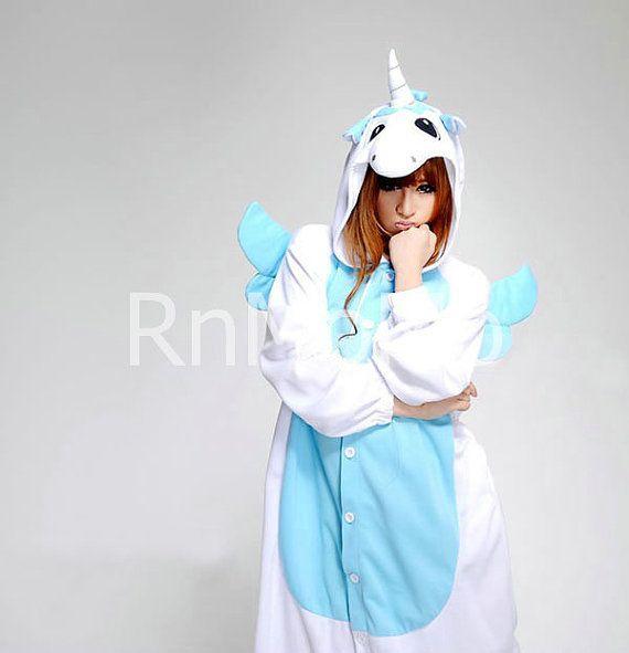 KIGURUMI Cosplay Romper Charactor animal Hooded Nightclothes Pajamas Pyjamas Costume sloth Onesie outfit Sleepwear-unicorn