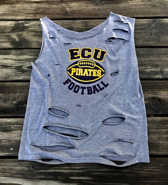 Vintage ECU PIRATES Football Custom Distressed Off Shoulder