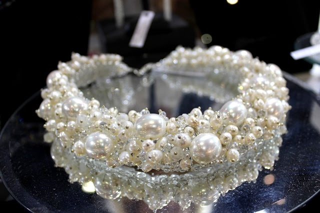 Couture jewelry with fresh water pearls and crystals