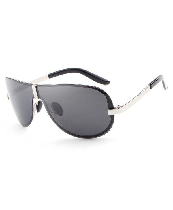 dec5a5b829 HDCRAFTER Oversized Polarized Sunglasses Anti Reflective - Silver ...