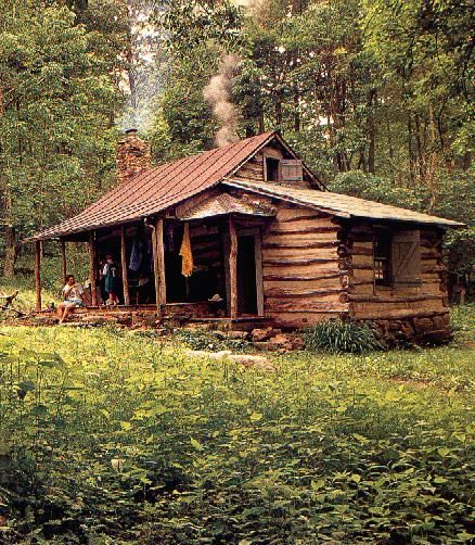 Log cabin in the woods. WANT.... Simple yet perfect.  Off the grid getaway...no electronics and completely secret.