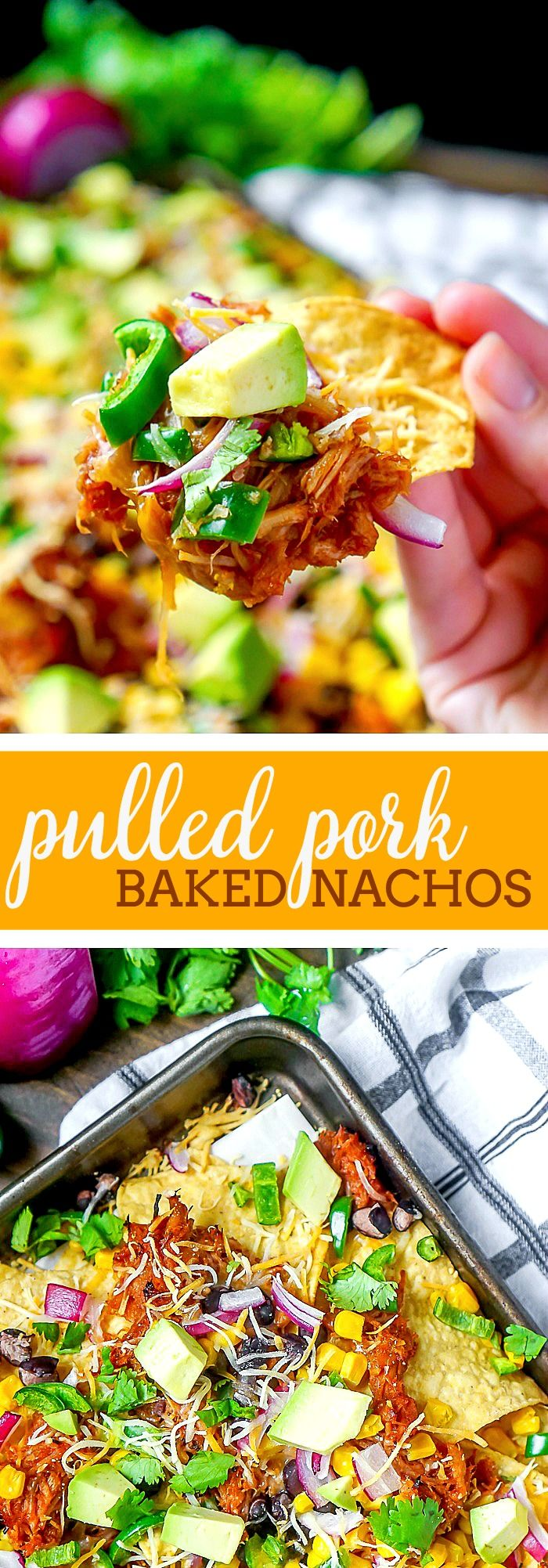 BBQ Pulled Pork Nachos - A tasty dinner or game day appetizer that only takes 15 minutes to make! Baked Nachos are always a quick and fun addition when menu planning! | The Love Nerds via @lovenerdmaggie