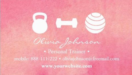 Trendy Pink Watercolor Female Fitness Personal Trainer Business Cards Direct Link: https://www.zazzle.com/z/ymwoq?rf=238835258815790439&tc=GBCFitness1Pin