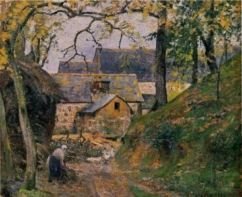 by Camille Pissarro - Farm at Montfoucault 1874 Gallery: Musee d'Art et d'Histoire, Geneva, Switzerland