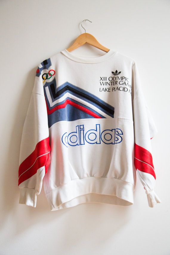 1932 - 1980 Collector Adidas XIII Winter Olympic Games Lake Placid Sweatshirt Size M