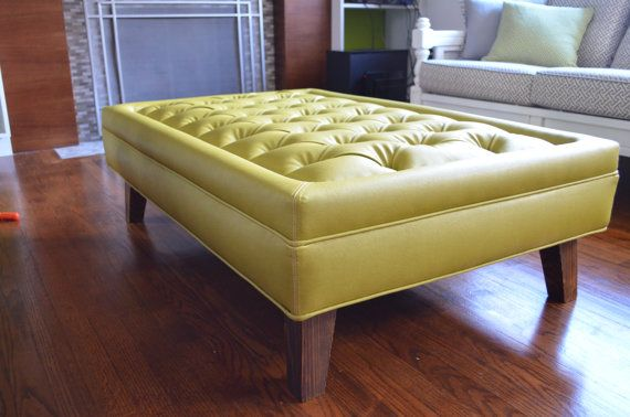 yellow tufted ottoman | a plus design reference