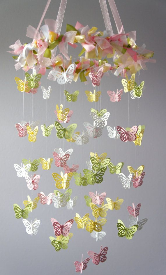Butterfly Nursery Mobile from Etsy.  Custom made order with navy, coral, and white paper/ribbon :)