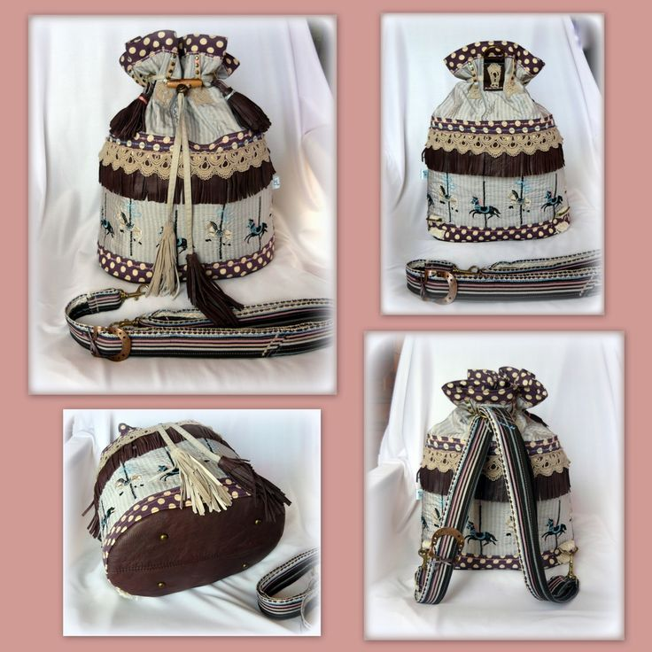 Handmade by Judy Majoros - Carousel-fringe bucket bag -backpack -crossbody bag/ 3 in 1/ leather/ Polka dots, Recycled bag.