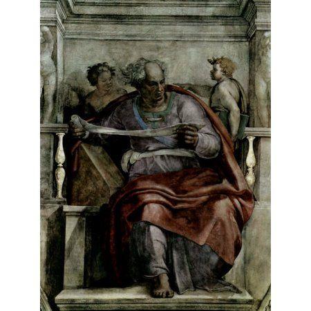 Ceiling Fresco For The Creation Story The Prophet Joe Canvas Art - Michelangelo Buonarroti (24 x 36)
