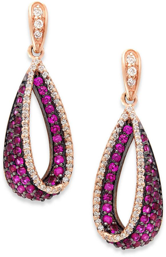 Amoré by EFFY Ruby (1-1/10 ct. t.w.) and #Diamond (1/4 ct. t.w.) #Earrings in 14k Rose Gold