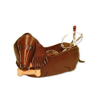 dachshund desk items   Desk Top Accessories > Eyeglasses Stands - Dachshund Japanese Leather ...