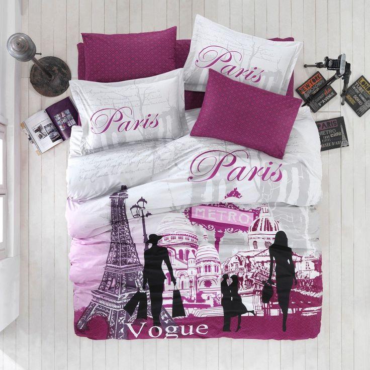 Paris Bedding Theme Girls in Purple. Fluffly Comforter or Duvet Set. #GirlsBeddingSets
