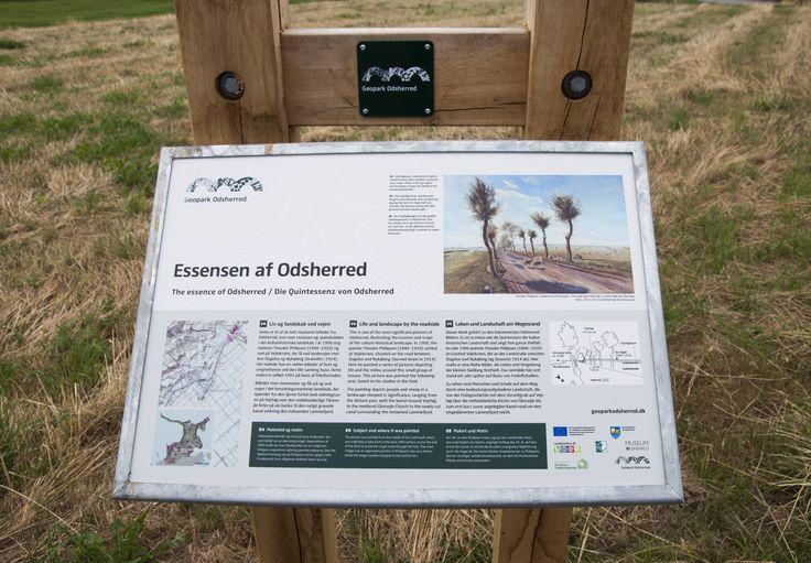 Skiltelayoutet tager udgangspunkt i Naturstyrelsens skilteprogram skaber derved en visuel sammenhæng mellem skilte på Naturstyrelsens og Geoparkens arealer. Dog stadig med en tydelig reference til Geopark Odsherreds visuelle identitet.