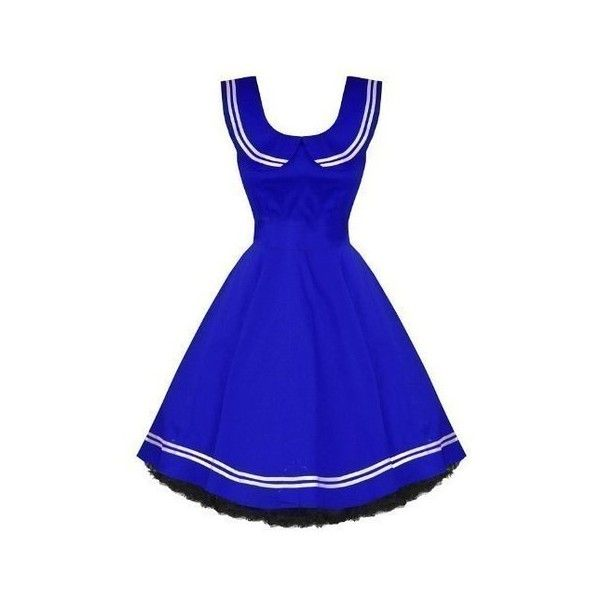 Hearts Roses London Vintage 50'S Nautical Sailor Rockabilly Swing... (2.655 RUB) ❤ liked on Polyvore featuring dresses, sailor dress, rockabilly sailor dress, nautical cocktail dress, blue vintage dress and vintage rockabilly dresses