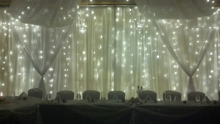 Twin Wall Lights With Pull Cord : Light Wall with Sheer Swags. Warm white LED twinkle lights Fabric draping Colorado Wedding s ...