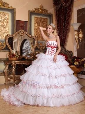 Detachable Train Design Cascade Skirt White Quinceanera Dress