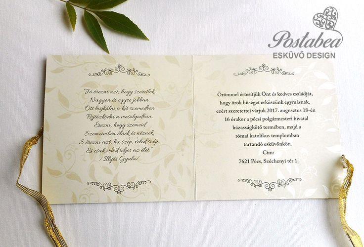 csipkés arany esküvői meghívó szöveg