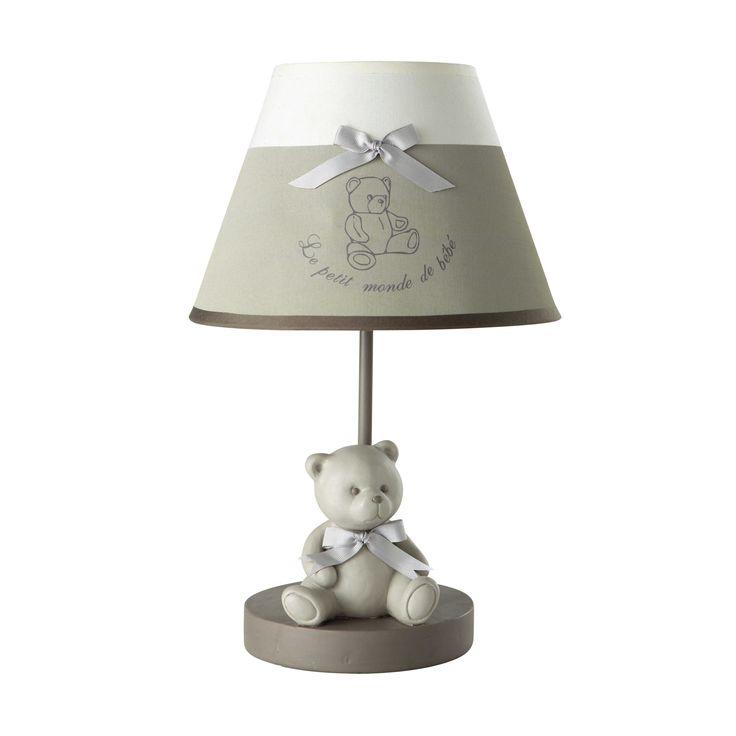 Lampe de chevet enfant en résine et abat-jour coton gris H 39 cm OURSON