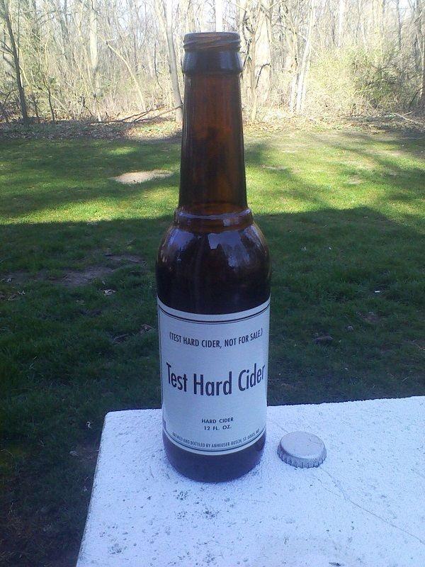 Anheuser Busch Test Hard Cider Beer Bottle (Johnny Appleseed) 12oz W/ Cap Empty