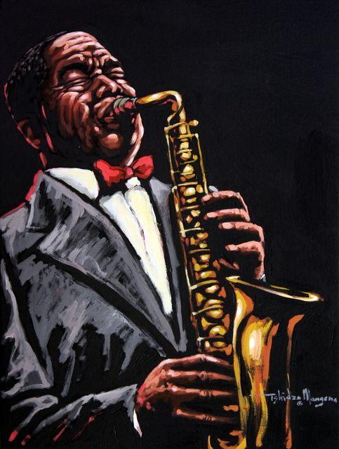 The Saxophonist by Tshidzo Mangena, Acrylic on canvas. https://www.facebook.com/akwaabaafricanart