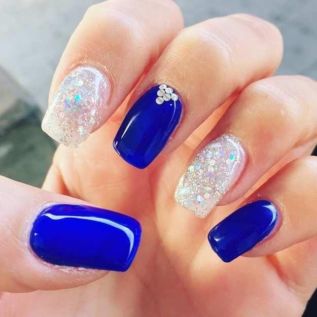 Royal Blue Crystals | Wedding Nail Designs