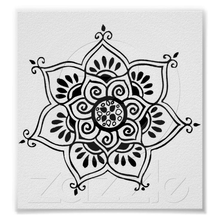 tatuaje tribal de la flor de loto poster de Zazzle.com