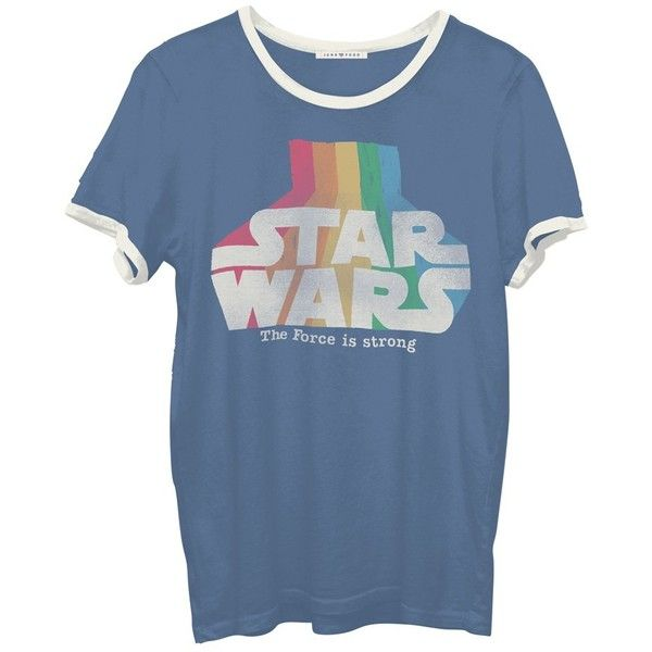 Junk Food Star Wars Graphic Tee (£30) ❤ liked on Polyvore featuring tops, t-shirts, shirts, navy combo, navy t shirt, blue short sleeve shirt, short sleeve tops, graphic design t shirts and short sleeve t shirt