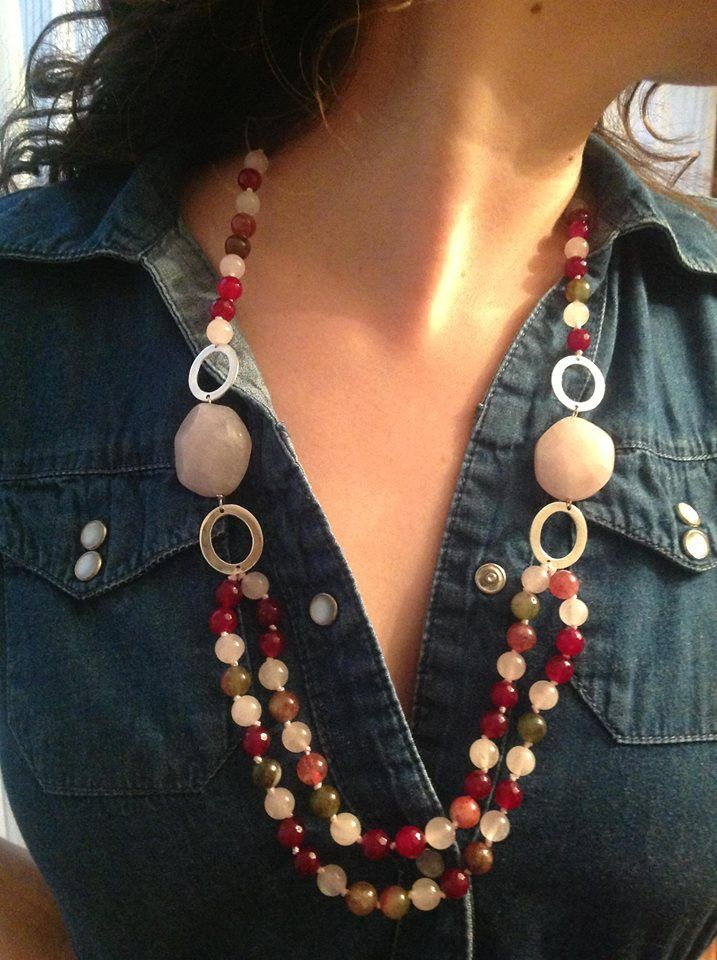 hermoso collar de cuarzo rosa con plata. hecho a mano por Betty Berlanga. Mexico http://buyjewelrydeals.com