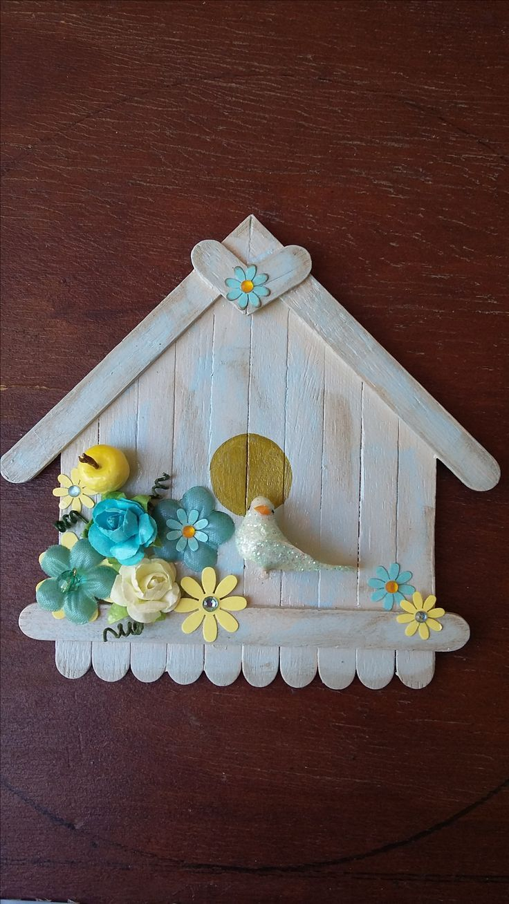 Turquoise and pale yellow, flower and bird house. By CAM – #creativewoodworks #d…