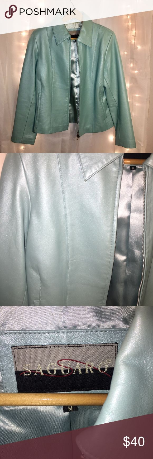 Genuine Leather Mint Jacket This genuine leather jacket is a beautiful mint color and it has a slight shimmer to it! Zips up and has a collar and pockets.   Worn a couple times, in perfect condition! Saguaro Jackets & Coats Blazers