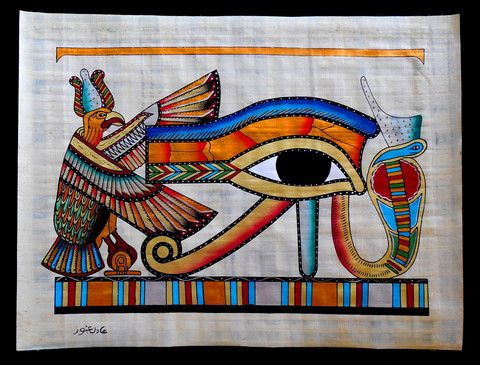 Ankh Ancient Egyptian Papyrus Painting In Love Eye Of