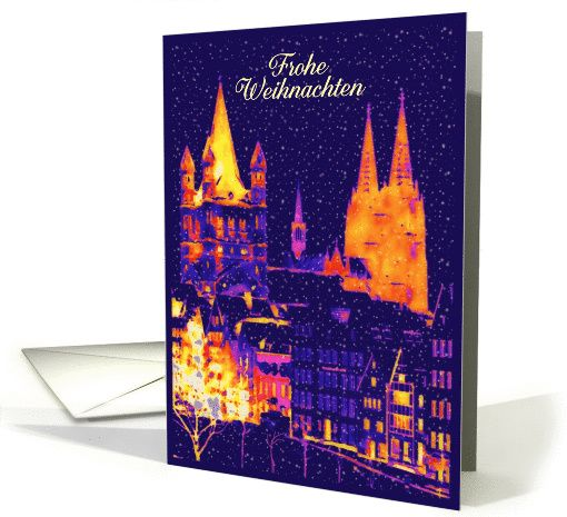 Frohe Weihnachten, Merry Christmas in German, Cathedral card