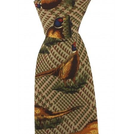 Brown Pheasant Silk Country Tie - £17.50