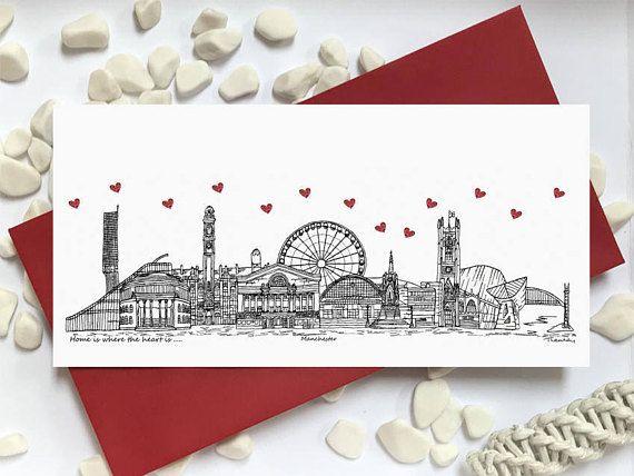 Manchester card  skyline landmark landscape card  Home is