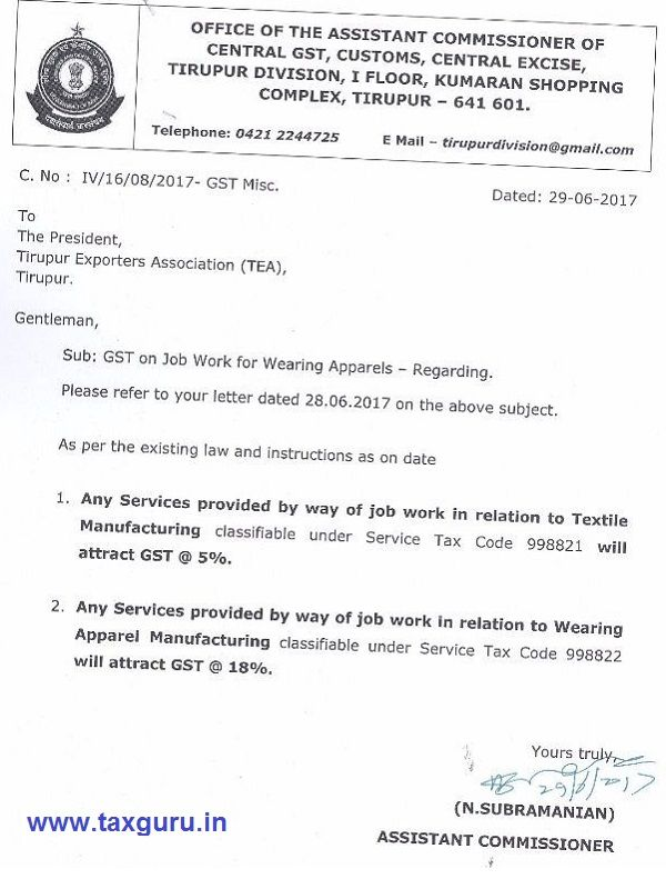 GST on Job Work for Wearing Apparels / Textile Manufacturing - http://taxguru.in/goods-and-service-tax/gst-job-work-wearing-apparels-textile-manufacturing.html