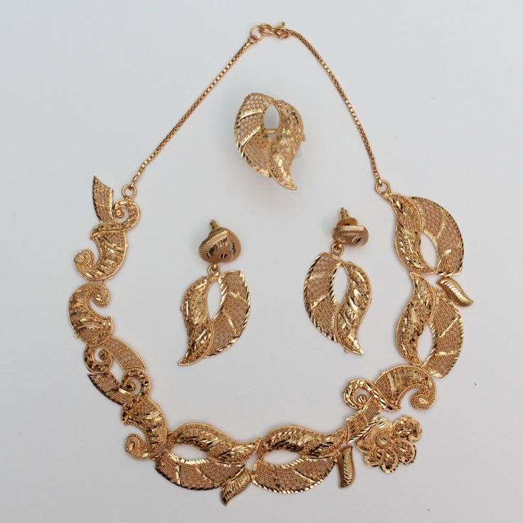 22ct Gold Plated Designer Wedding Indian Necklace, Earring, Ring Jewellery Sets