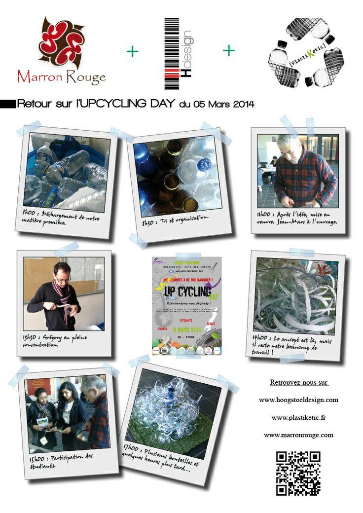 A l'occasion de l'Upcycling Day, organisé par les étudiants de l'Université de Cergy-Pontoise, HOOGSTOELdesign et Marron-rouge ont animé un atelier basé sur le recyclage des bouteilles plastique. A l'issue de cette journée, l'objet sélectionné sera exposé au sein de l'université, démontrant ainsi que le recyclage peut être pratique et esthétique.